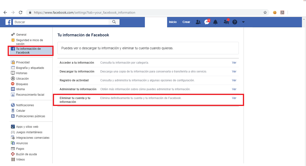 Locate the option to delete the Facebook account.