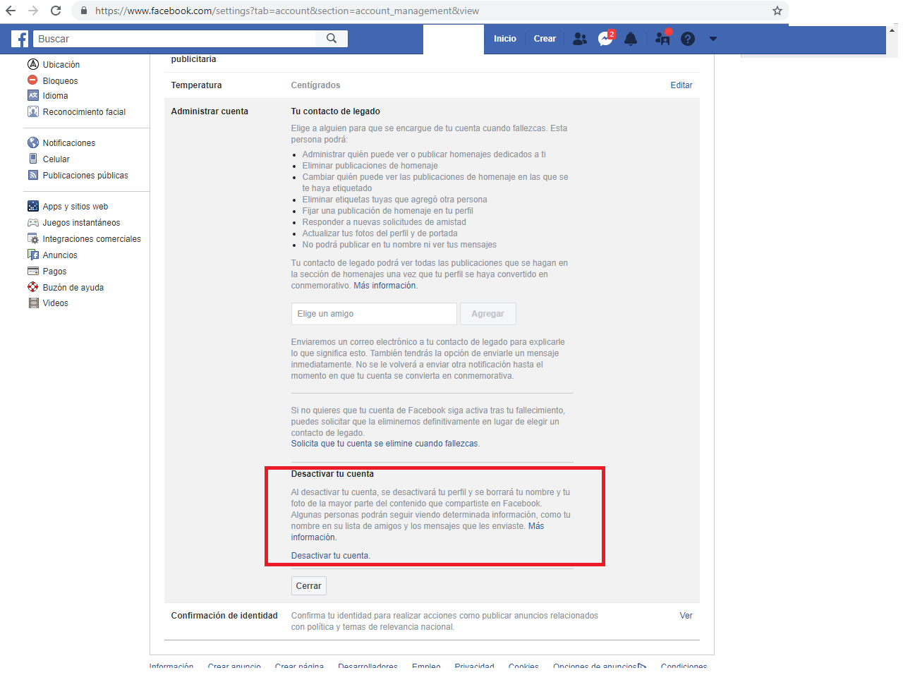 Locate the option to deactivate Facebook account.