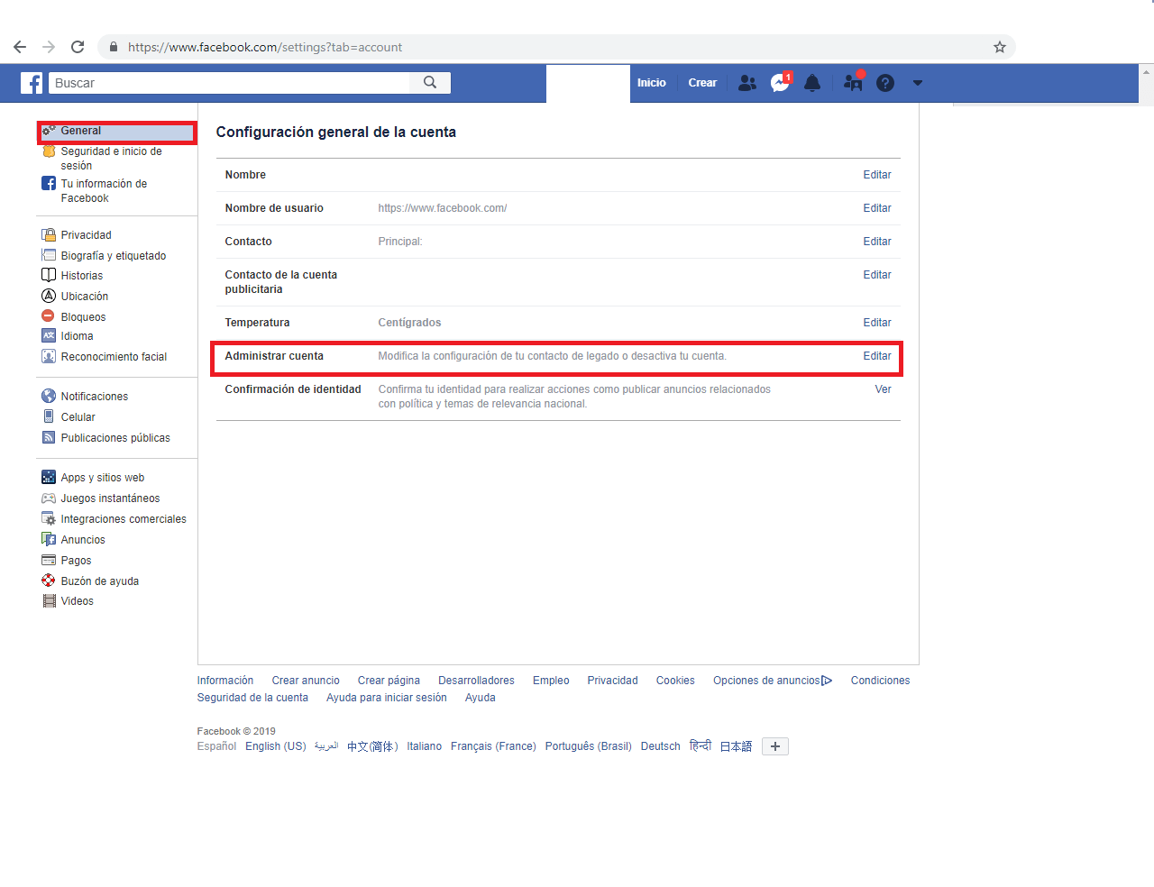 """Access the """"General> Manage account"""" section."""