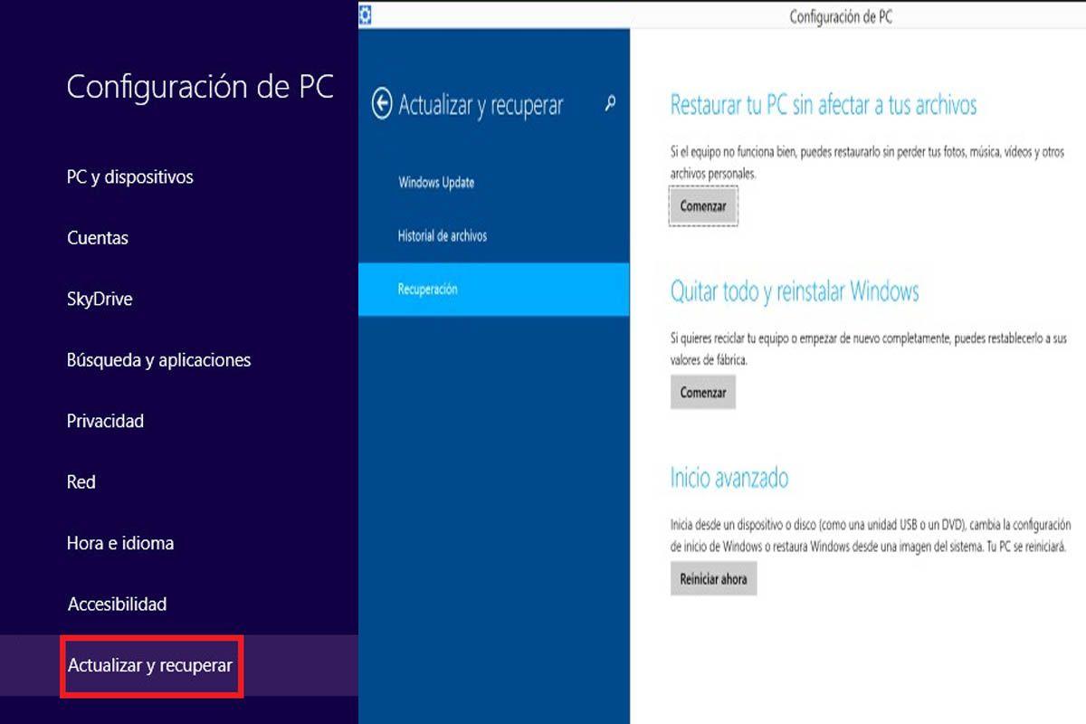 Restaurar Windows 8 y 8.1 desde fábrica con CD