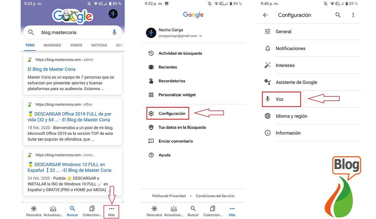 Configuración de asistente de Google