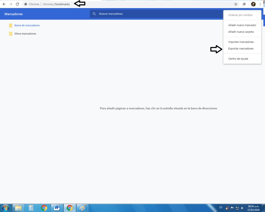 Exportar marcadores de Google Chrome.