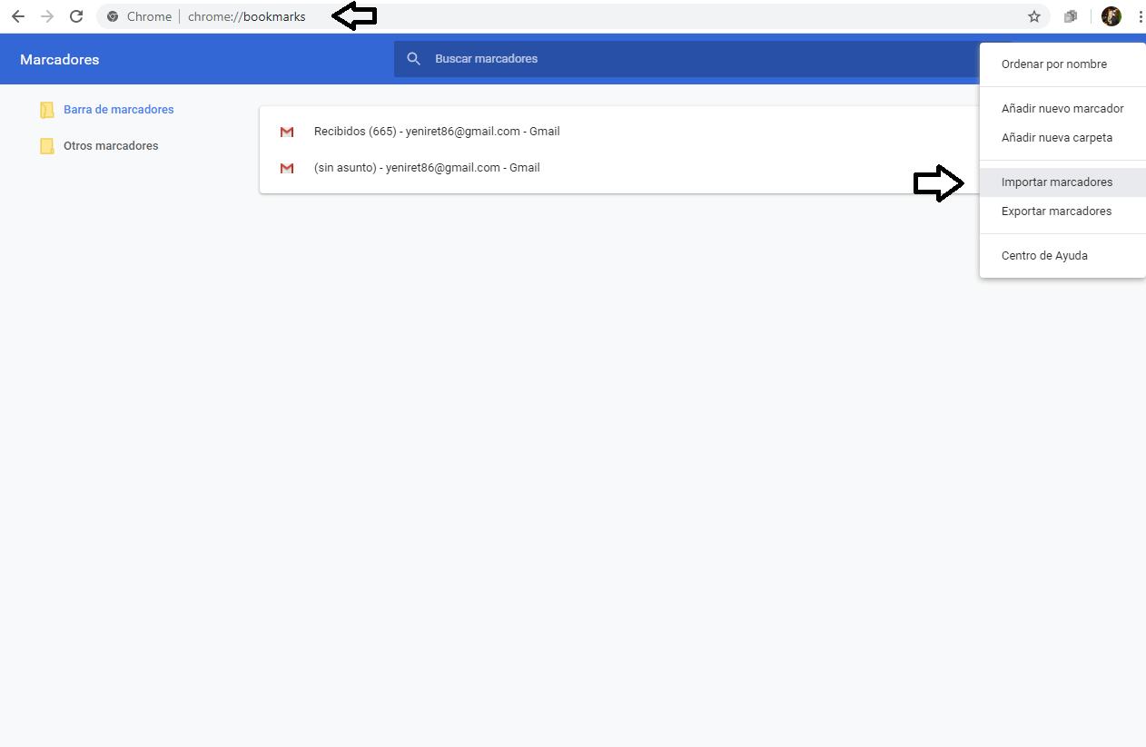 Importar marcadores de Google Chrome en PC.