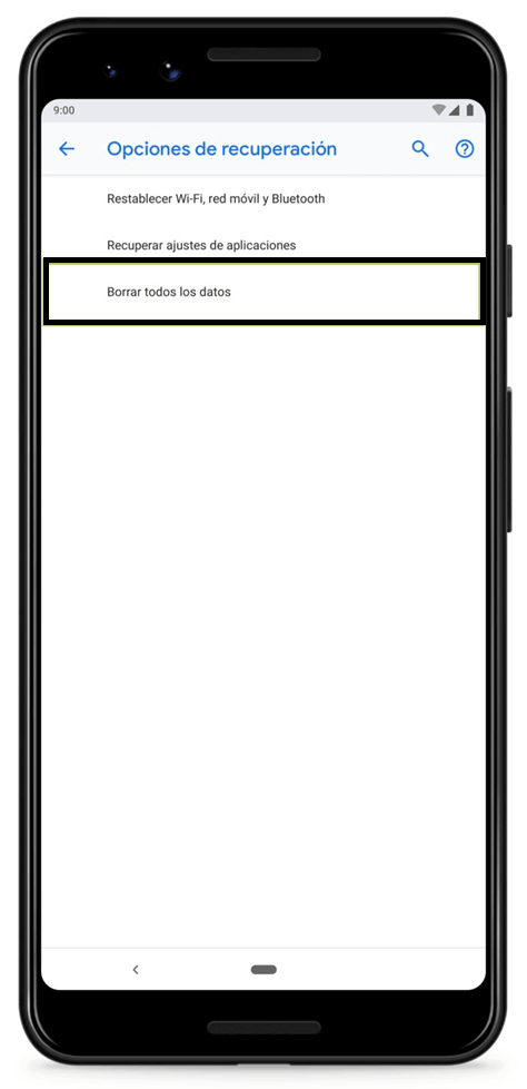 formatear dispositivo Android