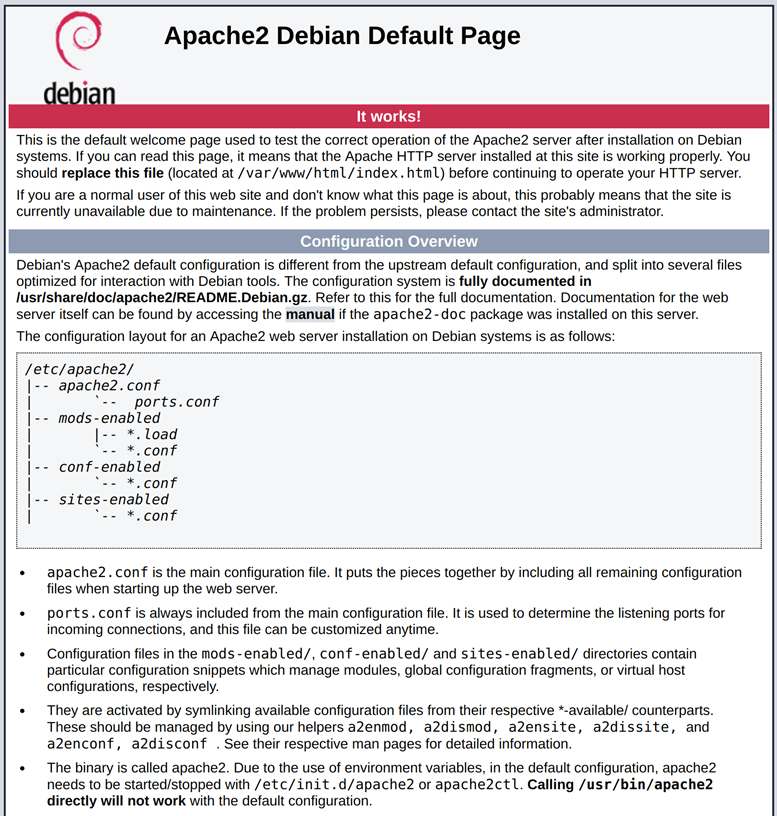 Apache page on Debian