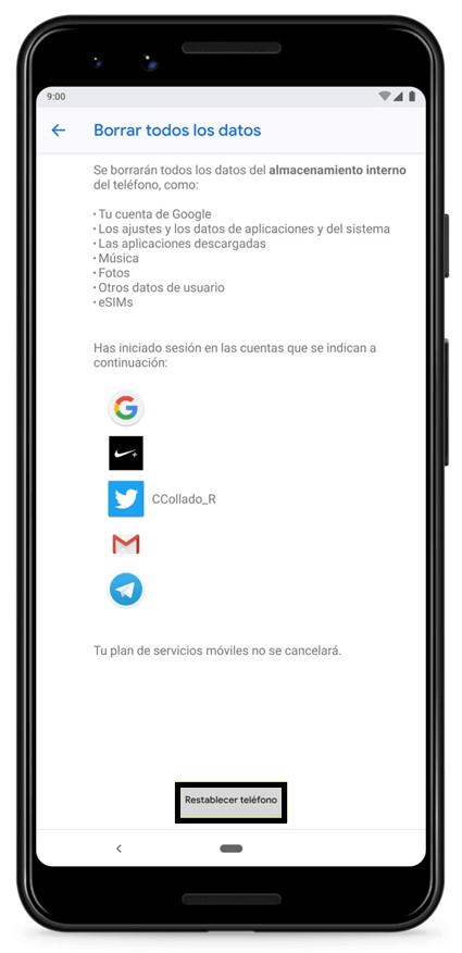 restaurar celular Android