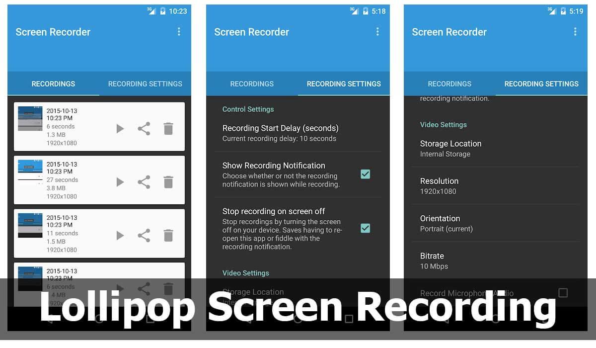 Otra de las alternativas para grabar pantalla es Lollipop Screen Recording