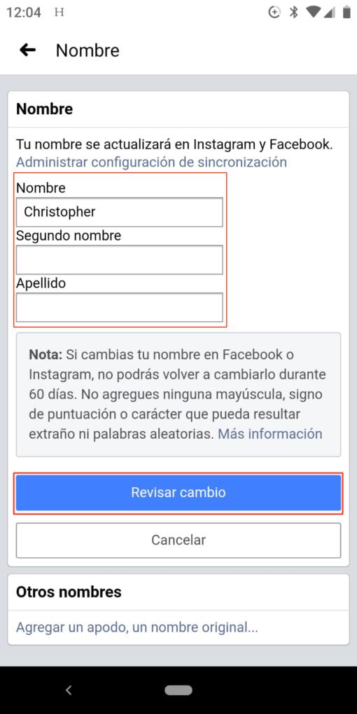 Ahí es donde podrás cambiar tu nombre de Facebook.