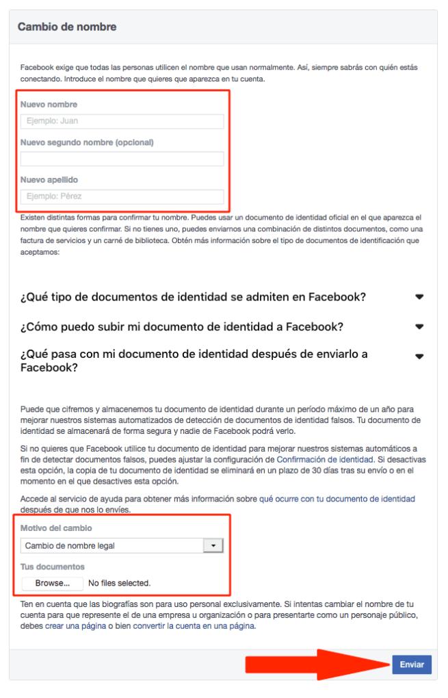 Con ese formulario podrás cambiar tu nombre de Facebook antes de los 60 días.