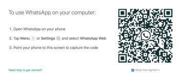Al entrar en WhatsApp Web, verás este portal.