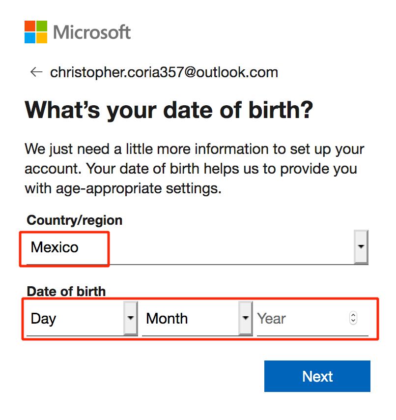 Configura tu país y fecha de nacimiento.