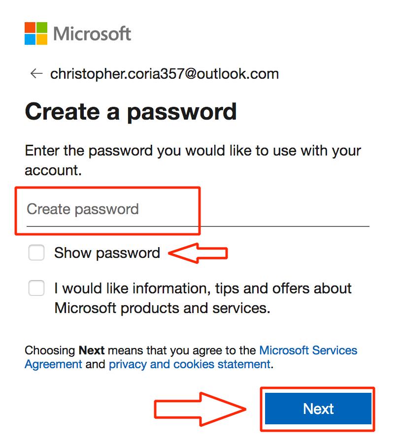 Debes introducir una contraseña para crear el correo Hotmail / Outlook.