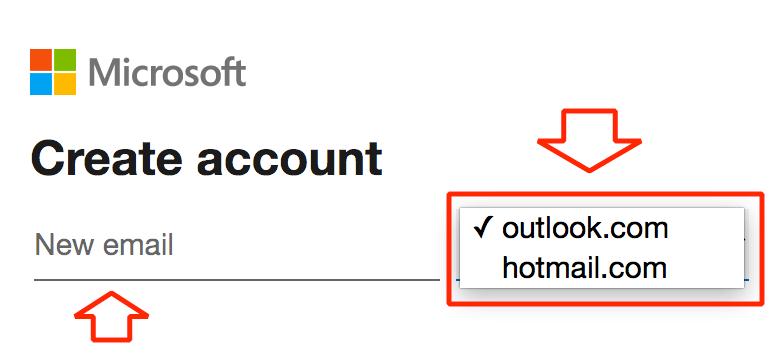 Para poder registrarse en Hotmail u Outlook, debes colocar el nombre del correo.
